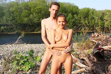 Horny sex lovers sunbathe nude and fuck